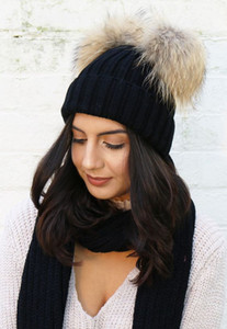New Wool Hat Women Winter Beanie Outdoor Chunky Knit girl hat with Double Fur Pom Pom Cute Stretch Beanie