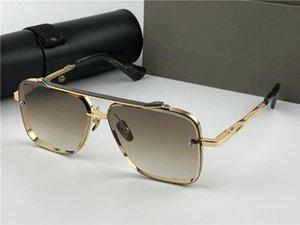 Neue Designer-Sonnenbrillen für Männer Luxus-Sonnenbrille Design-Metall-Vintage-Mode-Stil quadratischer Rahmen UV 400-Objektiv mit Fall Sonnenbrille Männern