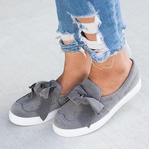 여성 무리 모카신 신발 rty6 캐주얼 Bowknot 신발 바느질 나비 넥타이 플랫 신발 여성 로퍼 플러스 사이즈 플랫폼 슬립