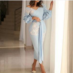 Baby Blue Sheath Tea Length Prom Dresses V Neck Long Sleeve Abric Dubai Evening Party Gown Satin Short Evening Gowns