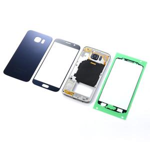 Para samsung s6 g920f g920p habitação metal médio quadro bateria tampa traseira + display lcd touch screen sensor de vidro + adesivo