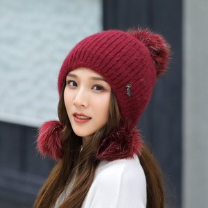 Hut-Winter-Hüte für Damen Strickmütze Fashion Frauen Winter stricken Kragen-gesetzte starke warme Fest Earmuff