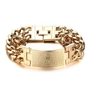 Бабушка Chic мужская высокое качество 316L ювелирные изделия из нержавеющей стали серебро / золото цвет двойной ручной цепи браслет для мужчин