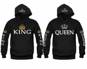 Re e la regina con cappuccio Amore corrispondenza coppia di corrispondenza Lui e Lei SweatshirtsTops della moda di New pile