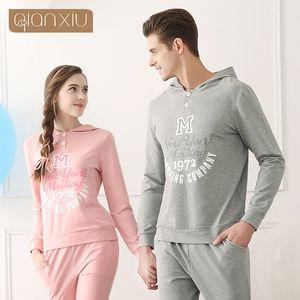 Qianxiu Men's Clothing Active Pijama hombre Lounge Wear Hoodeed Pajama Sets