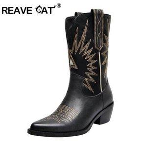 REAVE CAT Женские ковбойские сапоги Lady Ridding Boots Западный панк Острым носком Квадратные каблуки Кожа PU Слипоны на туфлях Черный Белый