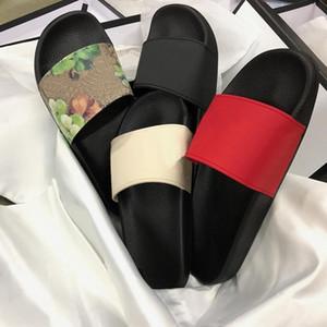 Tasarımcı Yaz Terlik Bay Bayan Moda Slide Sandal Tiger Green Stripe Terlik Plaj Açık Ayakkabı Taban Kapak Box Flop Gear