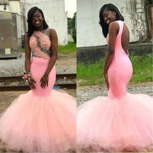 Abiti da ballo rosa africana 2K19 Black Girls Junior Laurea da sera Prom Wear Mermaid Sheer Neck Hollow Torna Applique Beads Dress BC1760
