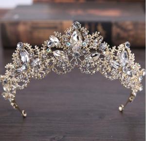 Барокко Корона Новый европейский и американский моды Кристалл Свадебные церемонии невеста Роскошные Головные уборы Корона Свадебные аксессуары Аксессуары Свадебные
