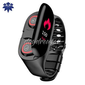 M1 Bluetooth duplo TWS 5.0 fone de ouvido inteligente Pulseira 2 em 1 Frequência Cardíaca Pressão Arterial Rastreador SmartWatch Homens Para IOS Android Phone