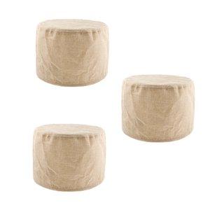 3PCS Exquisite Cotton Rund Hocker Abdeckung Für 28cm / 11inch Fußbank-Kamel