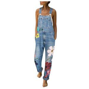 Moda Kadın Denim Jumpsuit Şık Çiçek Jeans Kayış tulumlar Vintage Kız Denim Önlüğü Pantolon Streetwear Macacao Feminino # G301
