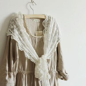 Ricami floreali White Lace nuovo filato signora Party di cotone lunga sciarpa scialle