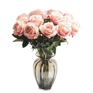 Falso simulación de regalo romántico de Rose de la flor artificial de bricolaje Rojo Blanco flores de seda para la decoración de la fiesta en casa de la boda Día de San Valentín