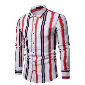 Gli uomini dimagriscono a maniche lunghe in cotone a righe camicia maschile Bottone vestito casuale della camicia di affari Casual chic Henley Camicie Tops