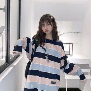 Fashion Striped T-Shirt Women Round Collar Loose Tops 2019 Korean Style Long Sleeve Fall Casual Tee Shirt