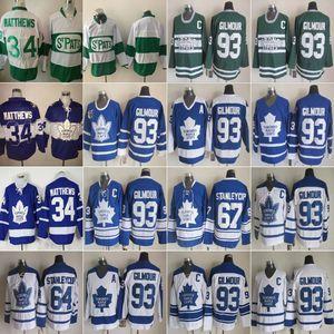 Винтаж Toronto Maple Leafs 93 Doug Gilmour Hockey Jerseys 34 Auston Matthews 64 Stanleycup 67 Stanley Cup Mens Classic 75th Anniversary