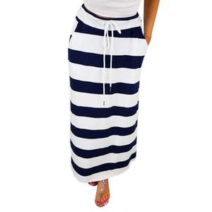 Sleeper # 401 2019 NOVA MODA Womens Moda Tarja Hight Cintura Maxi Saia Longa casual wear design longo verão quente Frete Grátis