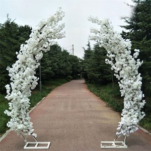 Romantic Wedding Decoration Cherry Blossom Arch Door Road Lead Moon Shaped Arches Shelf with Artificial Flower Set for Party Backdrop Supp