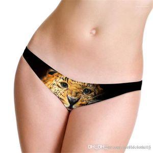 Femmes taille Panties Ice Silk Skinny femmes Briefs Femme Sous-vêtements sexy Leopard bas