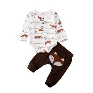 Focusnorm 0-18M 2PCS الوليد طفل رضيع فتاة مجموعة ملابس فوكس الطباعة قمم رومبير + سروال تتسابق مجموعة ملابس رياضية