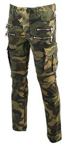 KooL J Mens Panel Biker Cargo Pocket Vintage Camoflage Cotton Denim Jeans delgados