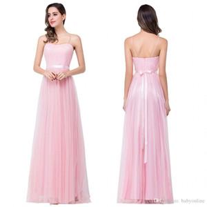 Дешевые платья подружки невесты розовые линии спагетти ремешок летом пляж богемные свадебные гостей одежда халат demoiselle d'honneur cps230