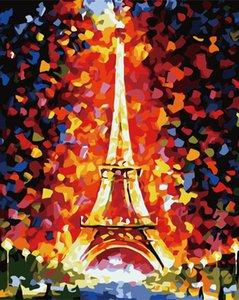 Eiffel Kulesi'ni boyama Toptan Yeni Diy dijital yağı 40 * 50 çerçevesiz boyama el boyaması Salon yatak odası dekorasyonu boyama