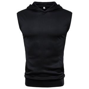 Felpa senza maniche con cappuccio da uomo Estate Bodybuilding Gilet Sportswear Allenamento Solid Soft Casual T-shirt con cappuccio Abbigliamento maschile Tops