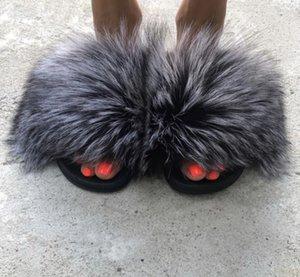 Pantofole Donne Pelliccia diapositive Furry Femminili Indoor scarpe pantofole Furry estate della donna sandali piatti Plus Size Eva