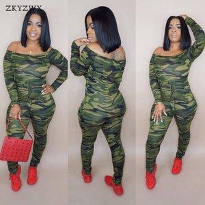 Zkyzwx sexy camuflagem bodycon jumpsuit mulheres romper fora do ombro manga comprida camo impresso macacões feminino streetwear macacão