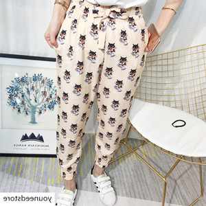 2019 Summer Style Printing Loose Small Fox Printing Harlan Pants Female Wide Leg Pants Nine Points Leisure Feet Pants
