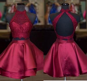 2 Peça Borgonha Curto Vestidos de Baile 2019 Camadas Saia de Renda Alta Neck Barato Homecoming Vestido New Graduation Dress For Girls Vestidos de Festa