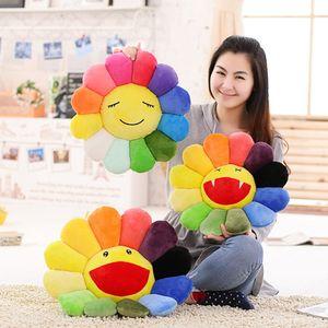 Sunflower Plush Toy Sofa Cushion Colorful Big Smile Teeth Sunflower Cushion Diameter 40cm Home Textiles Decorative Pillow
