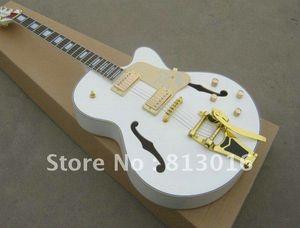 Atacado New White Falcon Chibson Guitarra Elétrica com Tremolo Ouro + Frete grátis em estoque