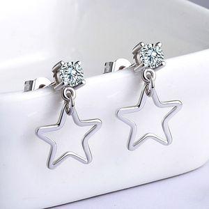S925 gümüş pentagram küpe kadın gümüş küpe hipoalerjenik moda takı