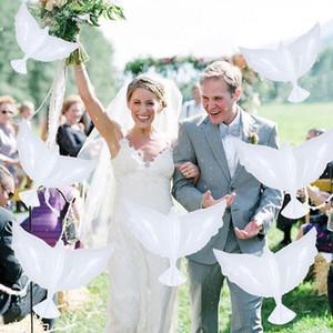 100 Pcs Dove Ballons mariage + 1 pcs Ballon gonfleur pompe à air en aluminium à l'hélium Pigeons ballons volants de mariage Décoration