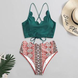 2020 traje de baño de las mujeres ata para arriba el festoneado Hem de cintura alta de la pinta de la vendimia High Cut entrecruzado Volver de dos piezas de baño bikini Set