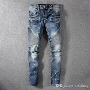 HOT Top мода роскоши мужской Desinger джинсы Мужчина джинсовая черные джинсы вышивка брюки Мода Дырка pantalons налить Hommes
