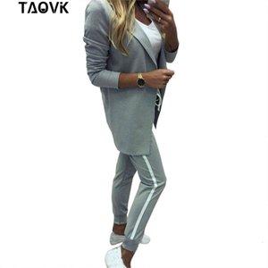 TAOVK Suits Turn-down-Kragen-Jacke weiße gestreifte Hose zwei Stücke Set Hose-Klagen Frau Sport Kostüme Weibliche Kleidung T191212