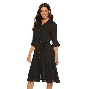 여성 긴 소매 셔츠 드레스 여름 쉬폰 보헤미안 비치 드레스 여성 캐주얼 솔리드 컬러 레이스 업 파티 드레스 Vestidos