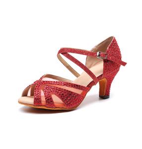 Professionell Salsa Jazz Ballsaal Latin Dance Red Schuhe zum Tanzen Frauen Plus Size Damen Latino Mit Heel Sommer Balck Sandale