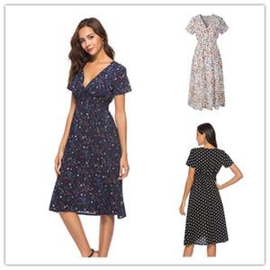 Señoras de las mujeres del vestido del verano del vestido bohemio femenino puntos Streetwear Dot flora Imprimir vestido largo de la playa de manga corta con cuello en V Faldas Noticias LY303