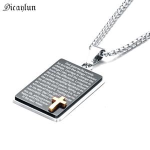Inspirada de la biblia Citas señores Prayer Cross Negro Collar de acero inoxidable Cristiano joyería de los hombres ¡Dios Grant yo la serenidad