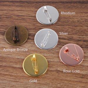 I risultati dei monili mucchio componenti 10pcs 20 millimetri 25 millimetri rotonda Impostazioni Brass Pin vuoto Pin Spilla cabochon base del vassoio Bezel Cabochon ...