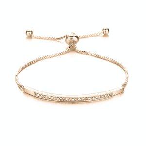 Zircon cúbico ajustável Bracelet Bangle por Mulheres Captivate Bar Slider brilhante CZ Rosa de Ouro Cor Declaração cadeia de jóias Pulseira presente