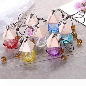Glass Car Perfume Bottle with Wood Beautiful Cap Empty Refillable Bottle Hanging Cute Air Freshener Carrier Home car decorate LXL743-1