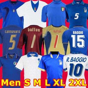 Top Tailândia Italia 2006 1994 1996 Itália Goleiro Vintage retro R. BAGGIO 2000 1990 Maglia da camisa calcio Totti Del Piero Pirlo futebol