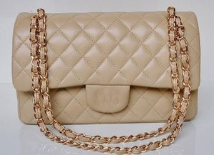 yangzizhi7 High Quality 25.5CM Double Flap Bag Lambskin Leather Quilted Plaid Chain Bag With Gold Hardware Caviar Leather Woman's