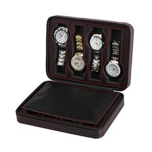Regalo Cuoio in fibra di carbonio nera portatile 8 Slot Guarda Jewlery Zipper bagagli Travel bag Guarda Bag scatola personalizzata di lusso